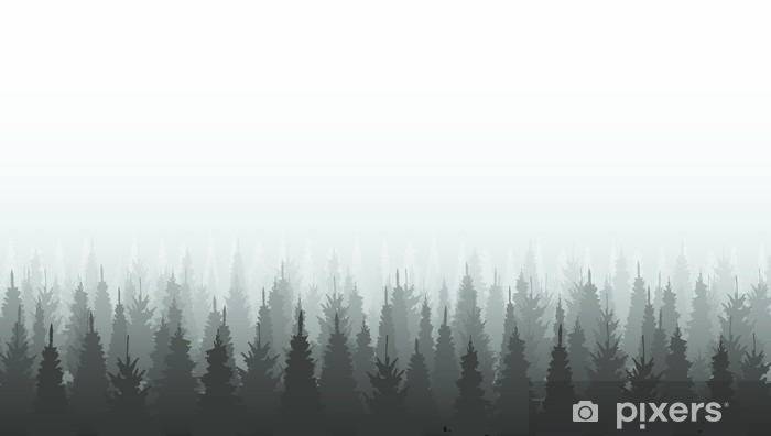 Dolap Çıkartması Iğne yapraklı orman siluet şablonu. Woods illüstrasyon - Manzaralar