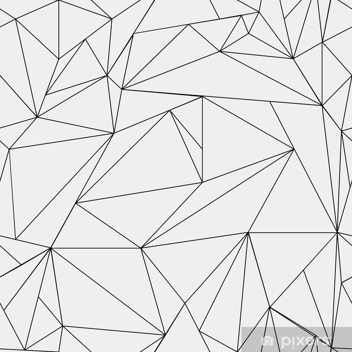 Geometric simple black and white minimalistic pattern, triangles or stained-glass window. Can be used as wallpaper, background or texture. Vinyl Wall Mural - Graphic Resources