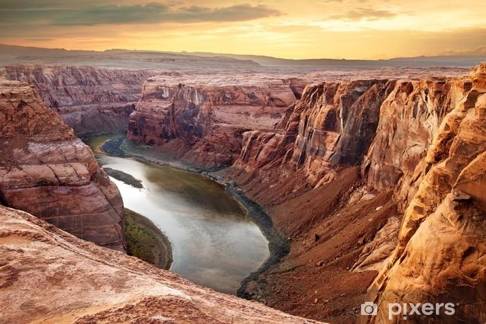 Vinyl Fotobehang Hoefijzerbuiging in de Colorado rivier in een diepe kloof - Landschappen