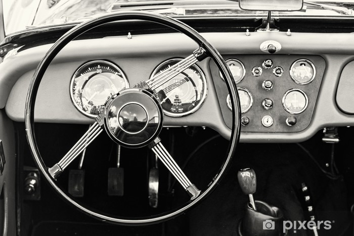 Sticker Pixerstick Volant et tableau de bord dans la ville historique de voitures anciennes - Transports