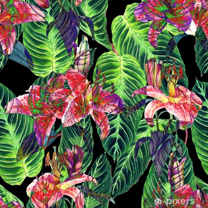 Seamless tropical floral pattern. Pink lilies and exotic calathea leaves on black background, inverted effect. Hand painted watercolor art. Fabric texture. Pixerstick Sticker - Graphic Resources