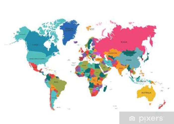 carte du monde couleur Papier peint Carte du monde politique. Détaillée carte mondiale