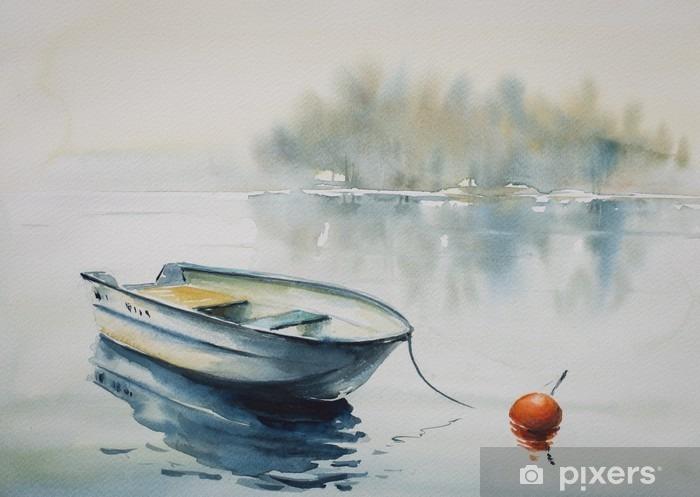 Fototapeta winylowa Akwarela krajobraz z drewnianej łodzi na rzece, pokryta mgłą. - Krajobrazy