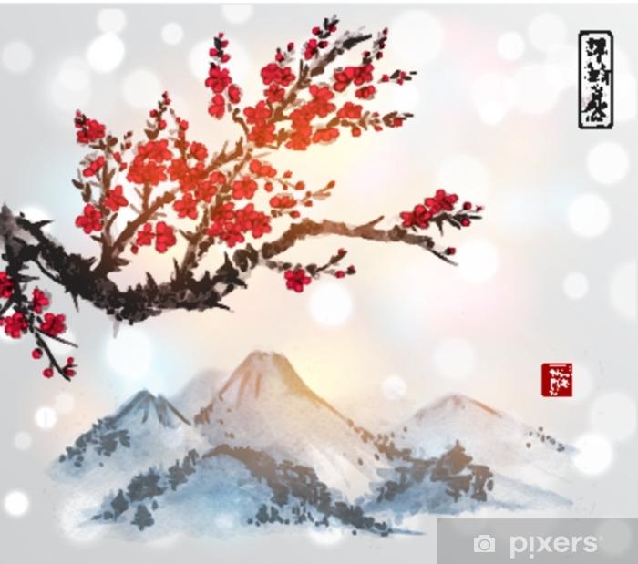 Sticker pour vitres et fenêtres Chaîne de montagnes dans la main de brouillard dessiné avec de l'encre sur fond blanc. contient des hiéroglyphes - paix, tranquillité, clarté, bonheur, grande bénédiction. peinture à l'encre orientale traditionnelle sumi-e, u-sin, go-hua. - Paysages