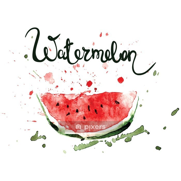 Slice of watermelon/Watercolor illustration with splashes and blots Wall Decal - Food