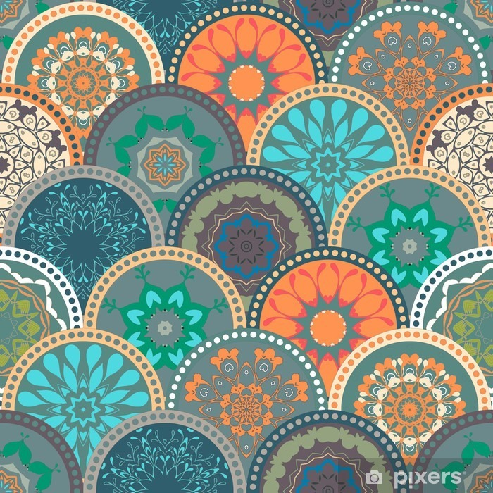 Seamless abstract pattern frame of trendy colored floral flower tile circles. For wallpaper, surface textures, textile. Summer-Autumn Design. India, Islam ethnic style. Green, orange, blue. vector Vinyl Wall Mural - Graphic Resources