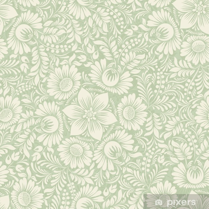 Zelfklevend Fotobehang Naadloze achtergrond in folk stijl groene kleur - Grafische Bronnen
