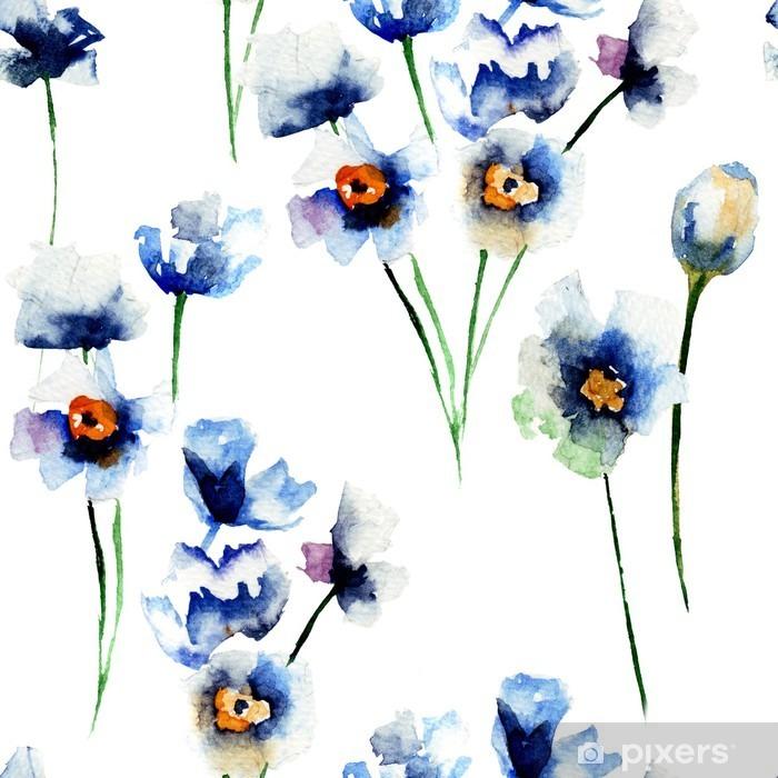 Papier peint lavable Seamless avec des fleurs sauvages Bleu - Plantes et fleurs