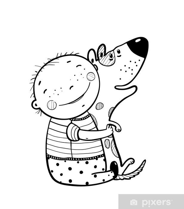 Fototapeta winylowa Mały chłopiec przytulanie psa najlepiej szczęśliwych przyjaciół Outline - Zwierzęta