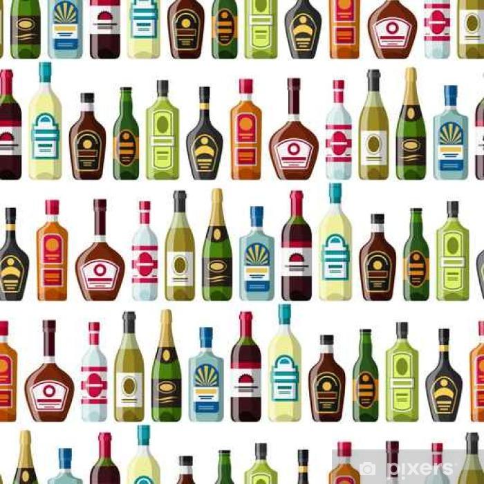 Poster Alkohol trinkt nahtlose Muster. Flaschen für Restaurants und Bars - Getränke