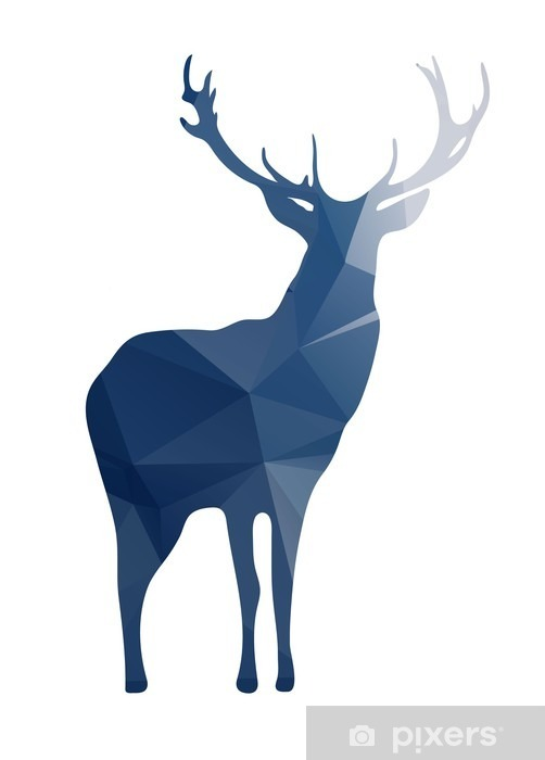 Naklejka na szafę Deer sylwetka kształtów geometrycznych - Zwierzęta