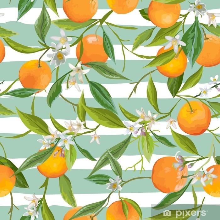 Poster Nahtlose Muster. orange Früchte Hintergrund. Blumenmuster - Landschaften