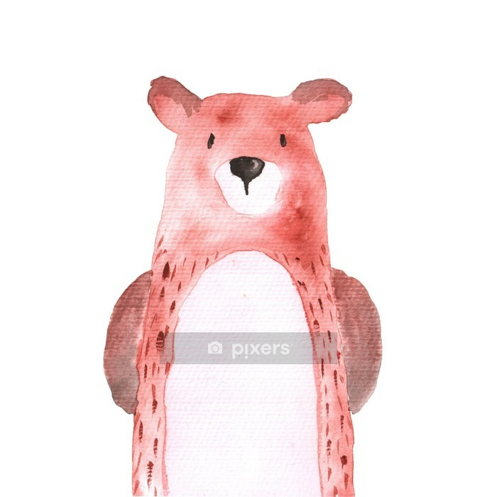 Muursticker Bear Woodland Dieren Aquarel de hand geschilderd Illustratioin Geïsoleerde - Dieren