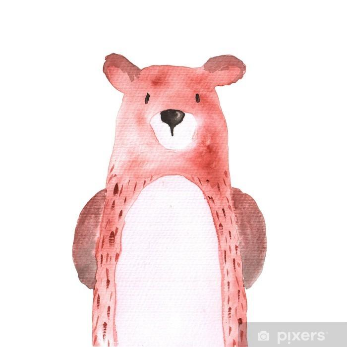 Autocolante Pixerstick Urso animais da floresta da aguarela pintados à mão illustratioin isolada - Animais