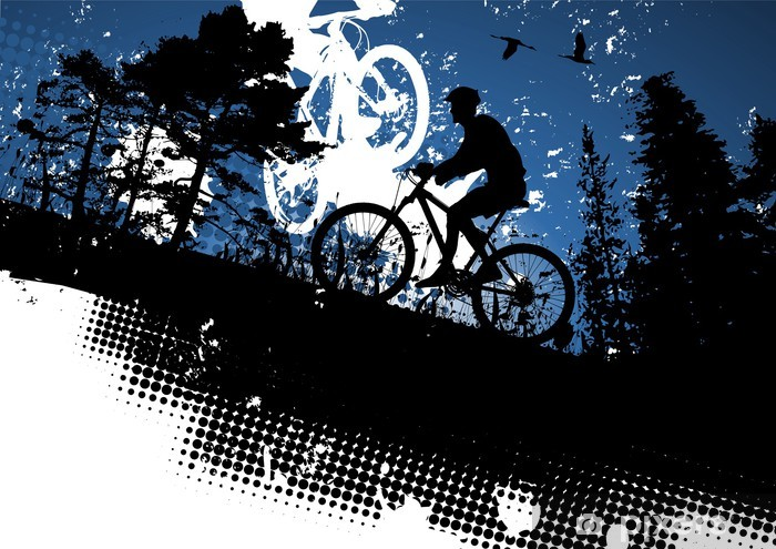 Mountain bike abstract background Pixerstick Sticker - Individual Sports