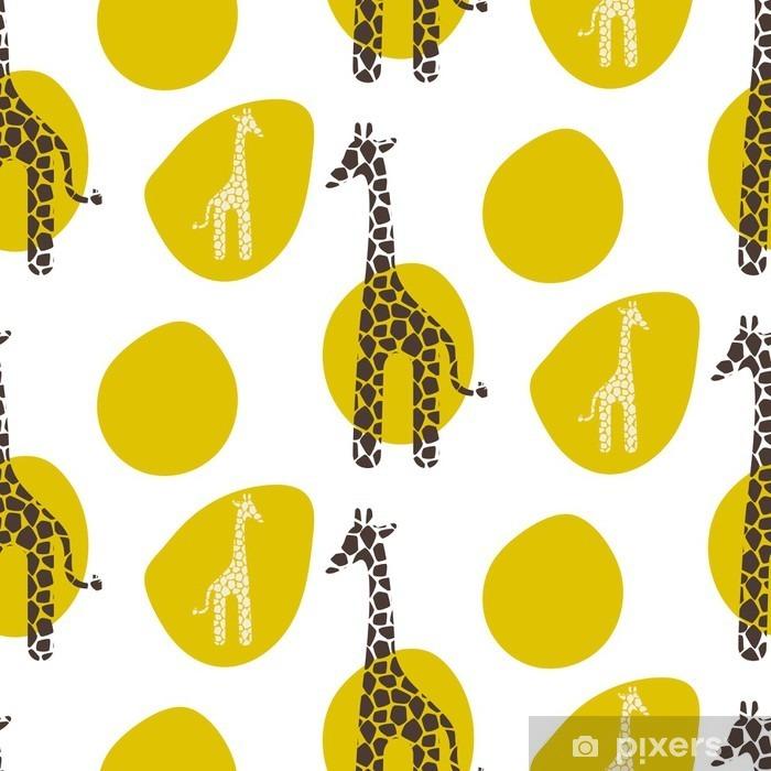Fototapeta winylowa Żyrafa wektor szwu. Żyrafa brązowe i białe tekstury plamy. Safari dzikich zwierząt tło z zielonymi plamami dla dziecka dziecko odzieży. - Zwierzęta