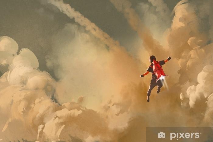 Vinyl Fotobehang Jongen vliegen in de bewolkte hemel met jet pack raket, illustratie schilderen - Hobby's en Vrije tijd