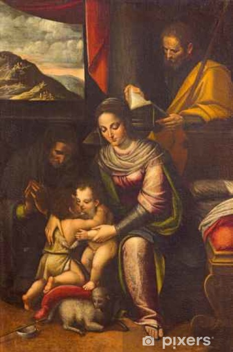 CREMONA, ITALY - MAY 24, 2016: The painting of Holy Family with St. Elizabeth and St. John the Baptist in church Chiesa di Santa Agata by Lucia Anguissola (1535 - 1565). Pixerstick Sticker - Buildings and Architecture