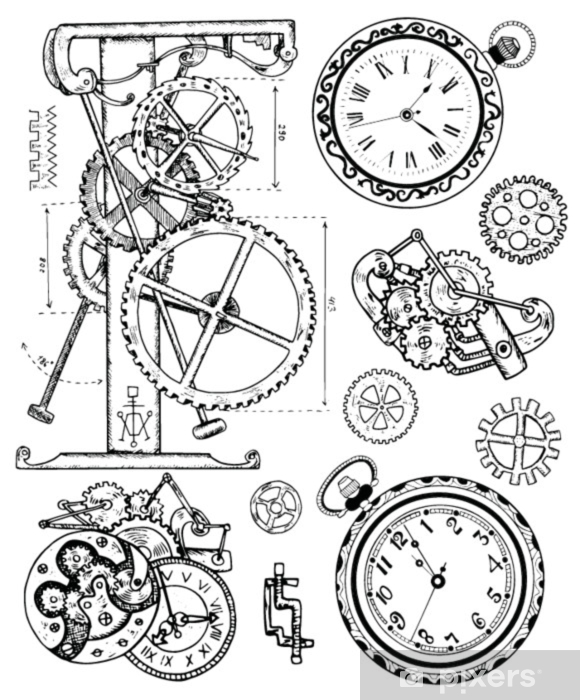 Wall Mural - Vinyl Graphic set with old clock mechanism in steampunk style