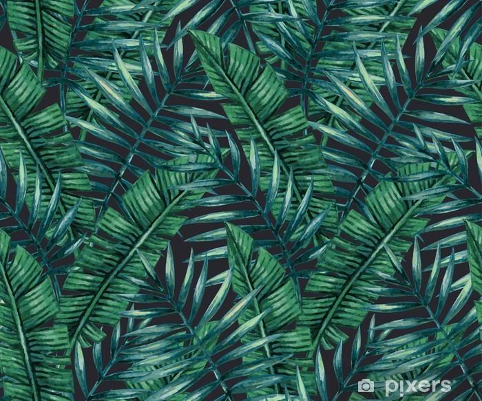 Vinyl Fotobehang Waterverf het tropische palm verlaat naadloos patroon. Vector illustratie. - Grafische Bronnen