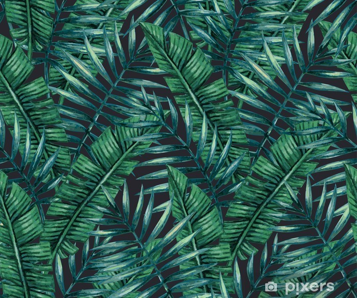 Watercolor tropical palm leaves seamless pattern. Vector illustration. Lack Table Veneer - Graphic Resources