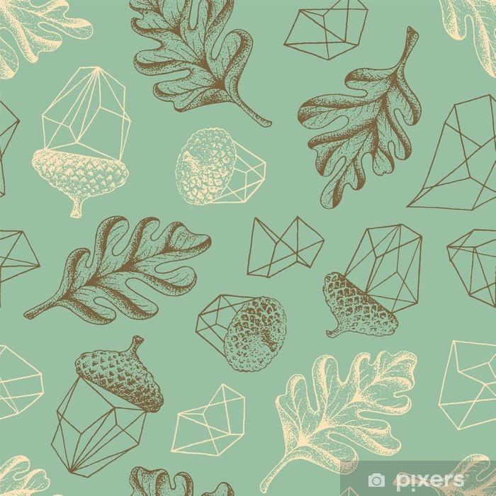 Fototapeta samoprzylepna Jesień dębowych lasów bezszwowych botanicznych wzór. - Jesien