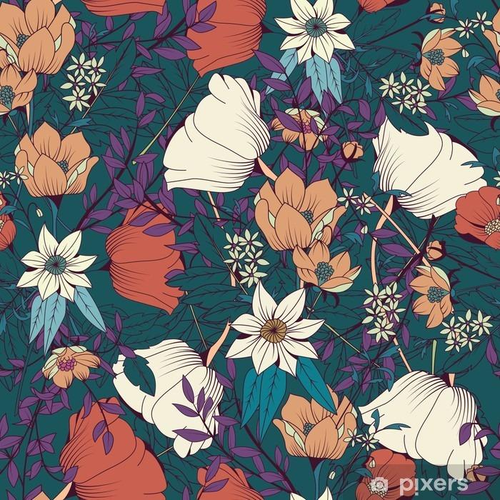 Fotomural Estándar Diseño sin patrón con flores dibujadas a mano y los elementos florales - Plantas y flores