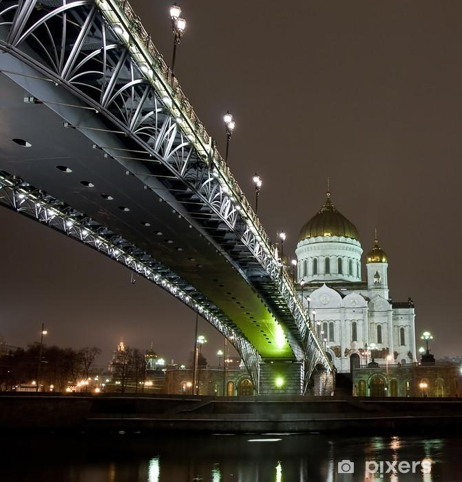 Fototapeta winylowa Katedra Chrystusa Zbawiciela w Moskwie widoku nocnego z mostu - Moskwa