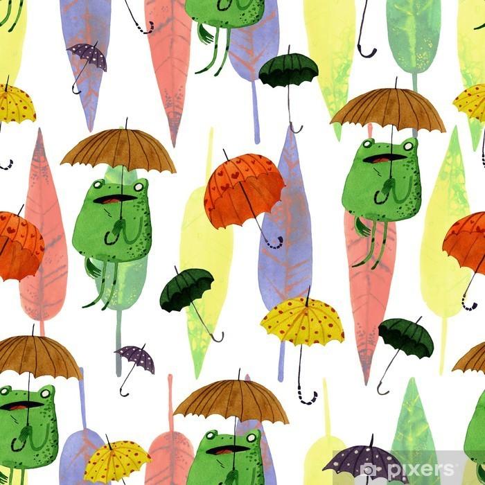 Naklejka Pixerstick Akwarela parasol żaba - Zwierzęta