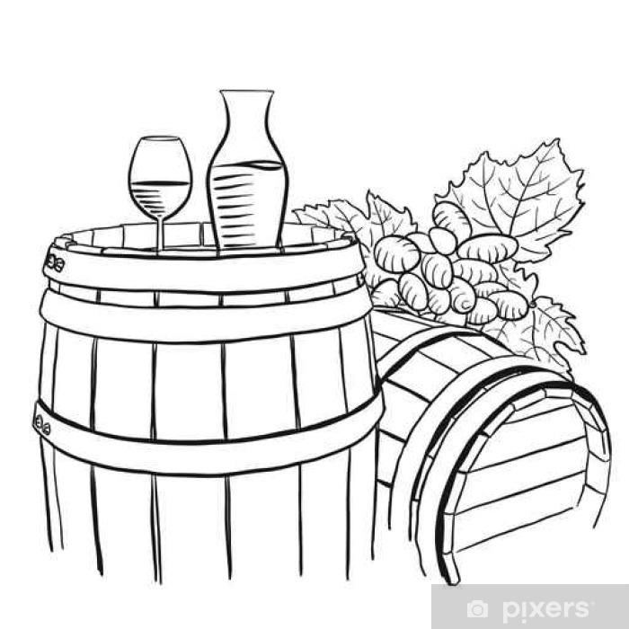 Poster Raisins, Carafe et verre de vin sur tonneau en bois - Ressources graphiques