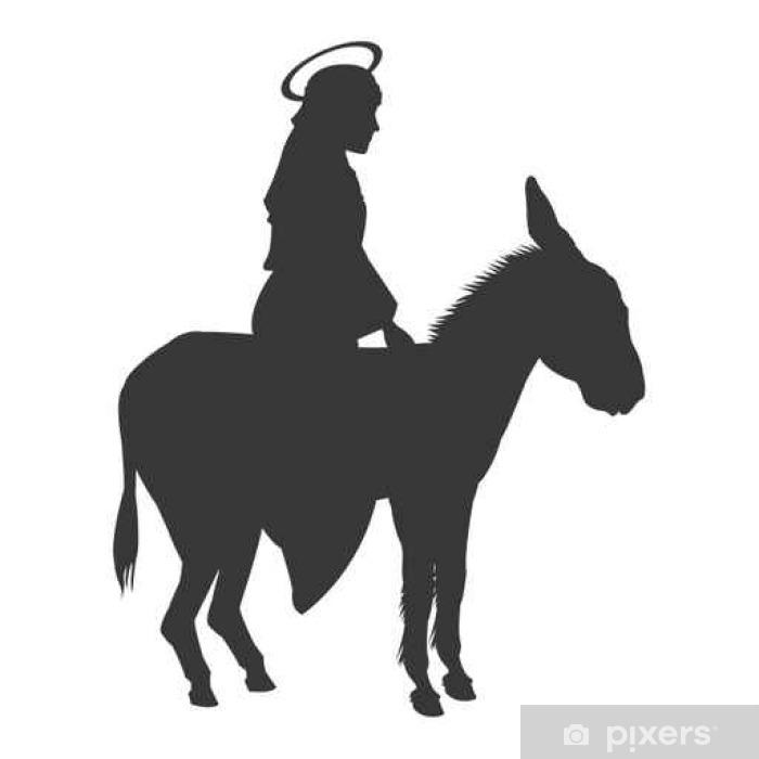Plakat Płaska virgin mary jazda osioł ikona ilustracja sylwetka wektor - Zasoby graficzne