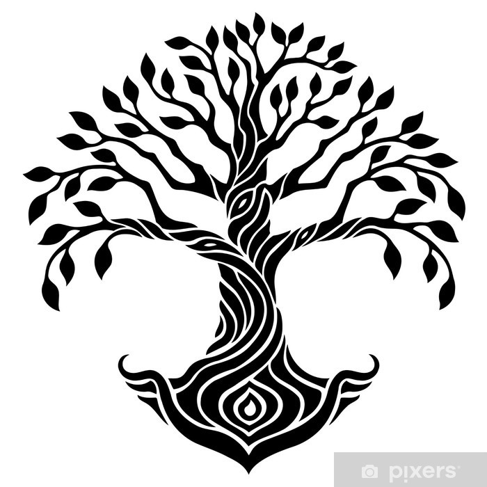 Vector Illustration Decorative Tree Of Life Black And White Graphics Wall Mural Vinyl
