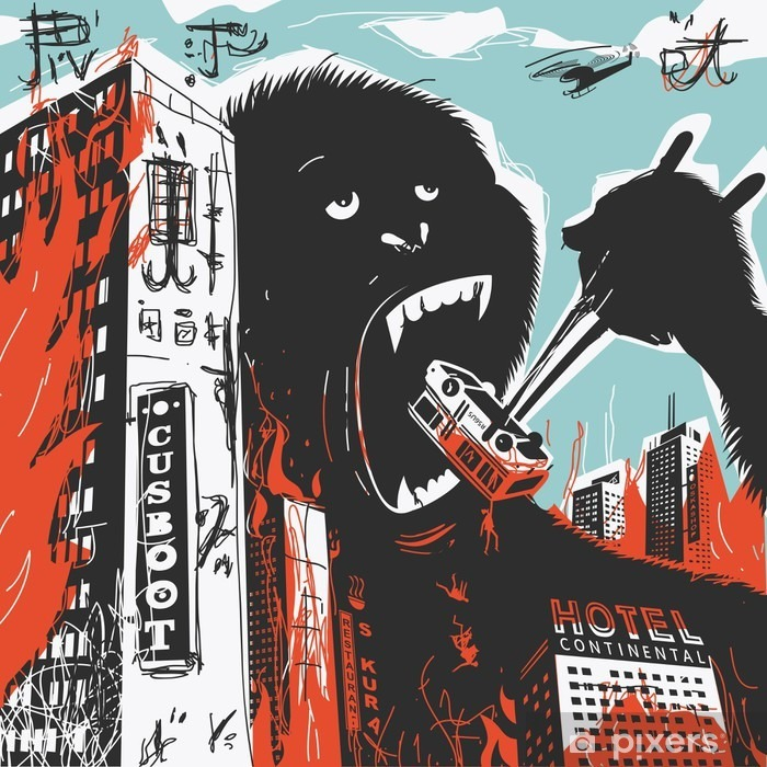 Big Gorilla destroys City Vinyl Wall Mural - Animals