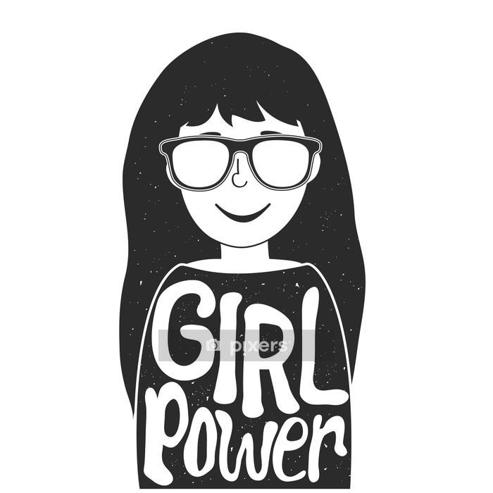 Adesivo da Parete Illustrazione vettoriale con ragazza alla moda in occhiali da sole e parole - di potenza di una ragazza. citazione Femminismo - Persone