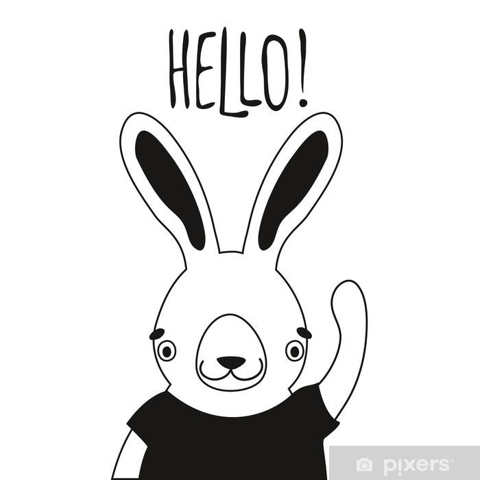Plakat w ramie Ilustracja cute królik w t-shirt i word cześć. - Zwierzęta