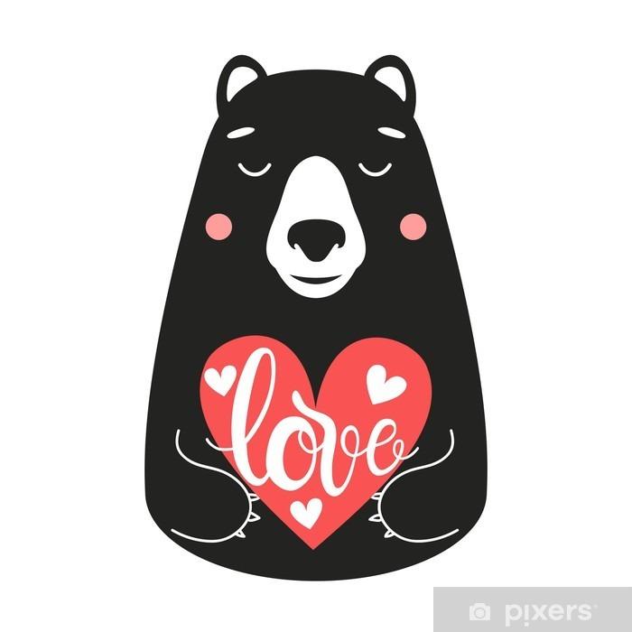 Pixerstick Aufkleber Nette Vektor-Illustration mit Bär, der ein rosa Herz mit Wort Liebe hält - Tiere