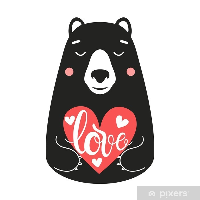Cute vector illustration with bear holding a pink heart with word Love Pixerstick Sticker - Animals