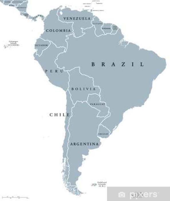 Sydamerika Lande Politiske Kort Med Nationale Graenser Kontinent