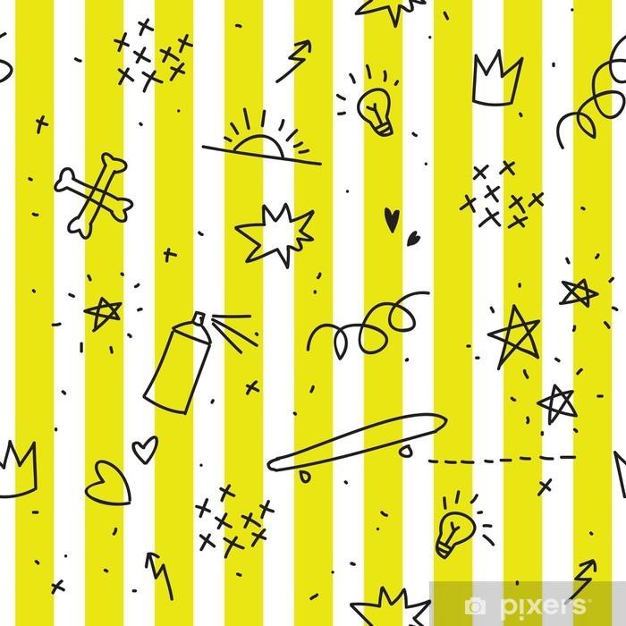 Adesivo Pixerstick Adolescente tema seamless con strisce gialle - Risorse Grafiche