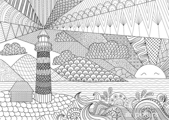 Coloriage Pour Adulte Ordinateur.Sticker Pour Ordinateur Portable Ligne Seascape Conception D Art
