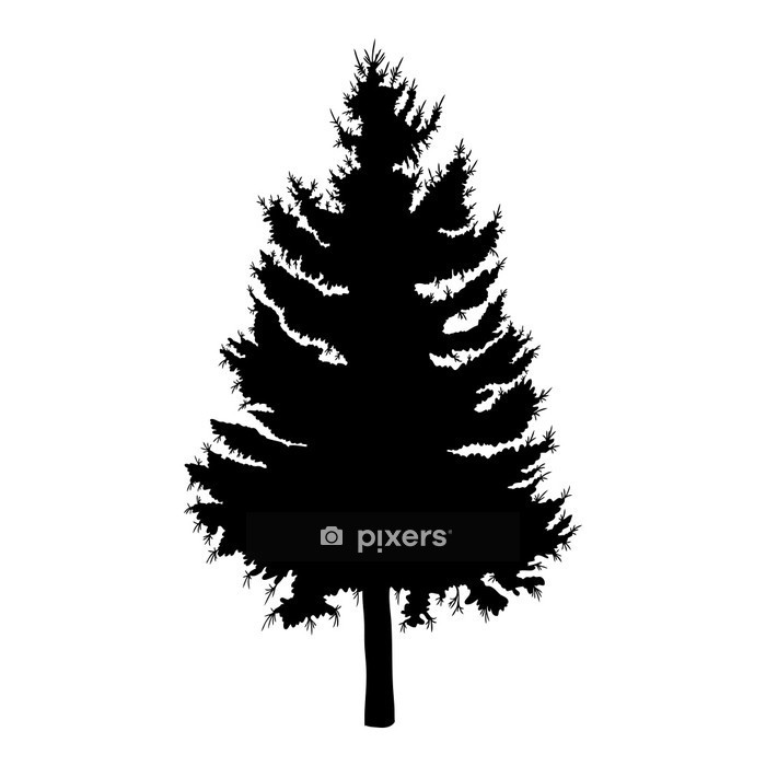 Hand drawn fir tree vector illustration. Silhouette of black pine tree. Wall Decal - Forest