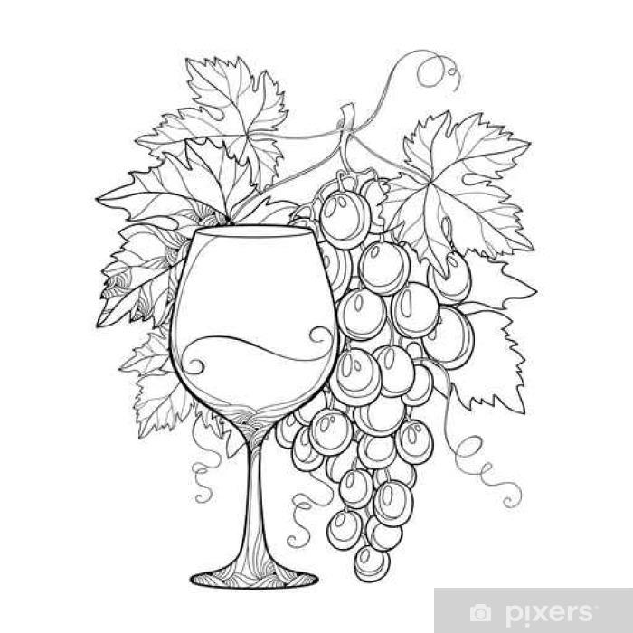Carta Da Parati Vector Grappolo Di Uva Foglie Di Vite Ornato E Il Bicchiere Di Vino In Bianco Isolato Su Bianco Outline Elementi Di Design Per Il Vino E La Cantina Oggetti