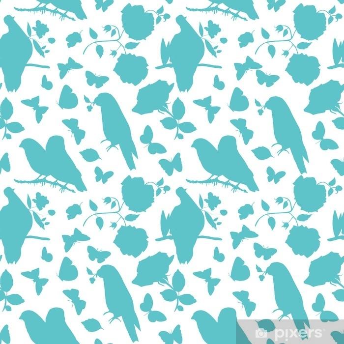 Vinyl-Fototapete Skalierbare Vektor-Muster mit Silhouetten von Vögeln, Schmetterlinge ein - Pflanzen und Blumen