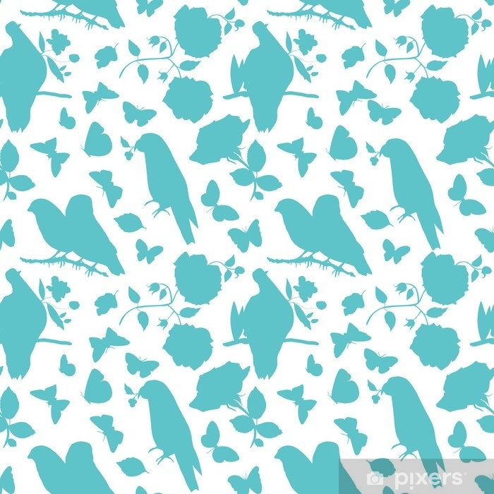 Sticker Pixerstick Modèle vectoriel évolutif avec des silhouettes d'oiseaux, des papillons - Plantes et fleurs