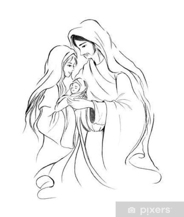 Fototapeta Dzieciątka Jezus Maryja I Józef W Abstrakcyjne Rysunki