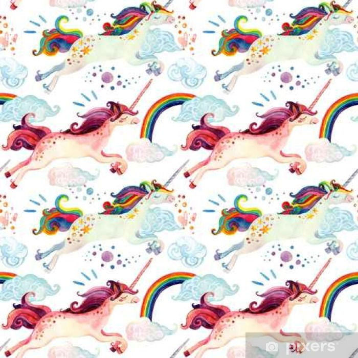 Watercolor unicorn seamless pattern Poster - Hobbies and Leisure