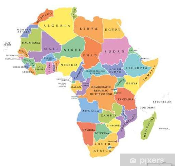 Plakat Afryka Singiel Stanowi Mape Polityczna Kazdy Kraj Posiada