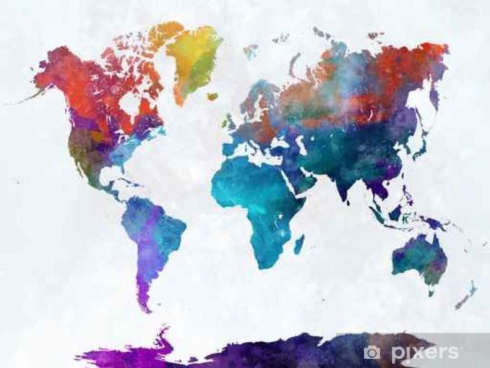 Papier peint vinyle Carte du monde dans l'aquarelle - Voyages