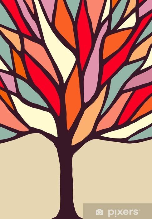 Cam ve Pencere Çıkartması Renkli dalları ile ağaç illüstrasyon - Çiçek ve bitkiler