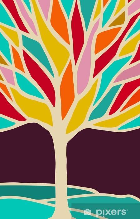Naklejka Pixerstick Streszczenie ilustracja drzewa z kolorowymi oddziałów - Rośliny i kwiaty